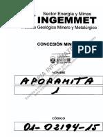 Concesión Minera - APORAMITA 1