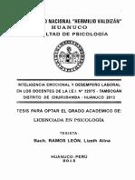 TPRE - 2105 Inteligencia Emocional y Desempeño Laboral en Los Docentes de La II EE TAMBOGAN Distrito de CHURUBAMBA