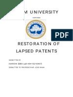 Ipr Restoration Oflapsed Patents