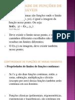 Continuidade de Funções de Varias Variáveis
