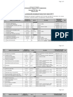 PRC Board Exam Schedule 2011