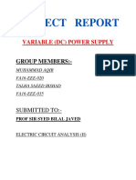 Project Report of a Variable Power Supply