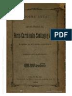 Memoria del Ferrocarril entre Santiago y Angol, 1884.