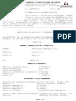 Certificado de Existencia y Representacion MO