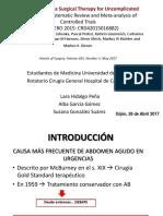 Tratamiento APENDICITIS AGUDA Antibioticos Versus Cirugía 2017