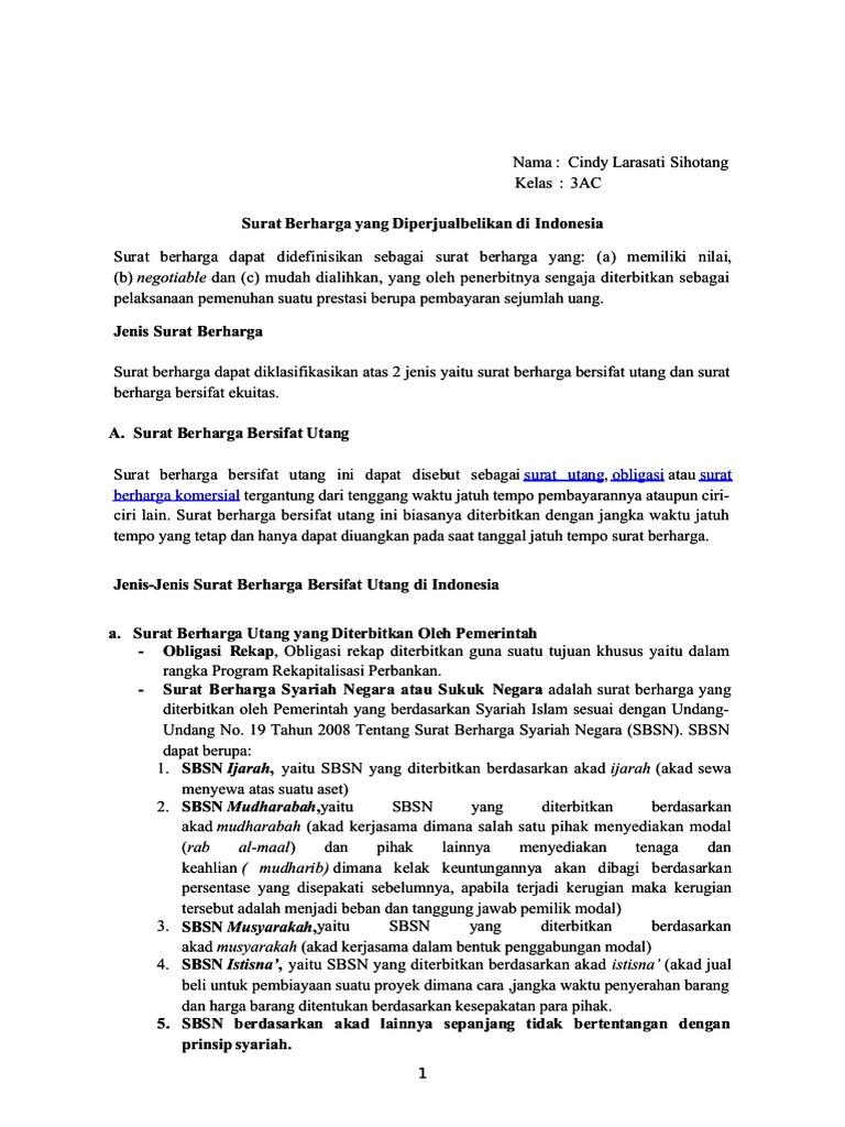Edocpub Jenis Surat Berharga Yang Diperjualbelikan Di Indo