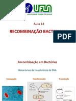 Aula 13 -Recombinacao Bacteriana2015