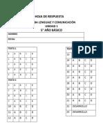 HOJA DE RESPUESTA 5 Y 6° 2019 U1