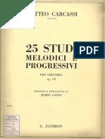 25 Studi Per Chitarra - Matteo Carcassi - Op 60 - Ed Zanibon