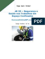 Curso Nr 33 Bssico Seguranca e Saude Nos Trabalhos Em Espacos Confinados Sp 52291