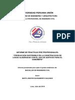 """PRODUCCIÓN SOSTENIBLE EN LA CONSTRUCCION DE LOSAS ALIGERADAS CON EL USO DE ADITIVOS PARA EL CONCRETO"""""""