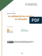 Calidad Revistas Filosofia 2015