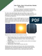 Equipment for Solar Wafer