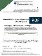 Maharashtra Judicial Service Civil Judge 2010 Paper-I _ Delhi Law Academy