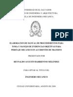 Elaboración de Manual de Procedimientos Para Toma y Menejo de Evidencias Objetivas Para Peritaje Mecánico en Accidentes de Tránsito