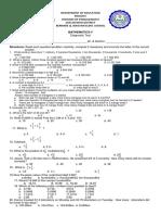 Pre-test Mathematics 5