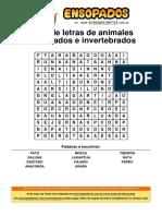 Sopa de Letras de Animales Vertebrados e Invertebrados