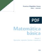 Francisco Magalhães Gomes IMECC UNICAMP. Matemática Básica. Volume 1 Operações, Equações, Funções e Sequências