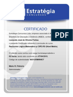 Certificado Raciocinio Logico Matematico DPE 2016