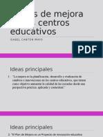 Planes de Mejora en Los Centros Educativos