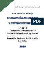 Plan de Trabajo Ciudadania Ambiental y Gestion de Riesgos 2019