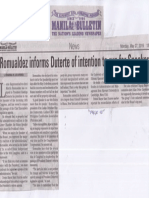 Manila Bulletin, May 27, 2019, Romualdez informs Duterte of intention to run for Speaker.pdf