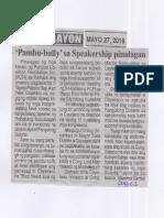 Ngayon, May 27, 2019, Pambu-bully sa Speakership pinalagan.pdf
