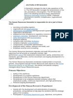 Job Profile of HR Generalist