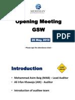 Opening Meeting - GSW