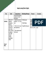 Sample Learning Plan (English)