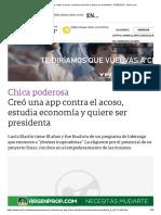 Creó Una App Contra El Acoso, Estudia Economía y Quiere Ser Presidenta - 27-05-2019 - Clarín.com