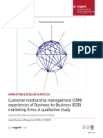 Customer Relationship Management CRM Experiences of Business to Business B2B Marketing Firms a Qualitative Study