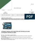 Automatic Water Level Indicator and Controller Using Ultrasonic Sensor (HC-SR04) - HUB360