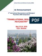 "Symposium Announcement - 4th International Neuroscience and Biological Psychiatry ISBS Symposium ""TRANSLATIONAL BIOLOGICAL PSYCHIATRY"", May 23, 2020, Kyiv, Ukraine"