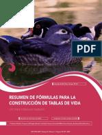 RESUMEN DE FÓRMULAS PARA LA CONSTRUCCIÓN DE TABLAS DE VIDA