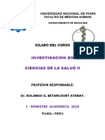 2019 - Silabo Investigación en Salud II - Esc. Medicina - Unp