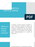 How to Write a Critical Paper Literature