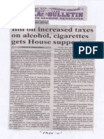 Manila Bulletin, May 28, 2019, Bill on increased taxed on alcohol, cigarettes gets House support.pdf