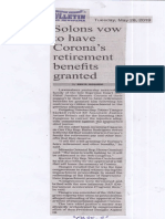 Manila Bulletin, May 28, 2019, Solons vow to have Corona's retirement benefits granted.pdf