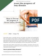 Steps to Prevent the Progress of Chronic Kidney Disease