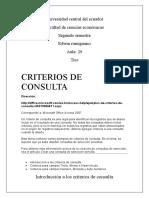 CRITERIOS PARA ACCESS 2007