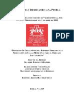 PROYECTO DE CREACIÓN DE UNA EMPRESA DEDICADA A LA PRODUCCIÓN DE SALSAS MEXICANAS PARA EL MERCADO SALVADOREÑO