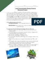 Renewable Nonrenewable Resources Poster Project Guidelines