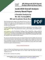 JEE Advanced 2019 Detailed Analysis