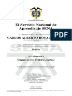 Diploma Sena (Tecnólogo) Carlos Hoya