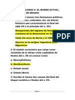 Cuestionario de Repaso MÓDULO v, Bloque 10. El Mundo Actual.
