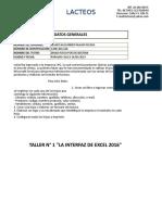 Taller La Interfaz Excel 2016