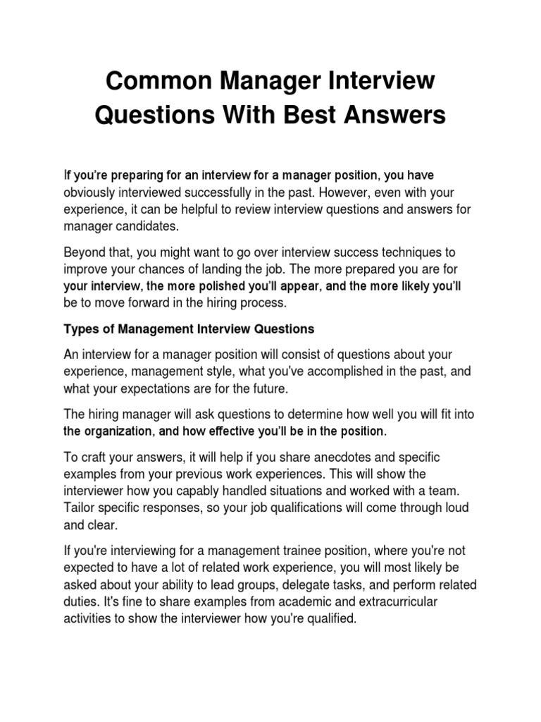 Common Manager Interview Questions With Best Answers | Job ...