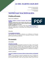 Noticias Del Martes 28.05.2019