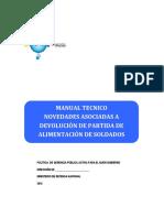 Manual Tecnico Novedades Asociadas a Devolucion de Partida Alimentacion Soldados